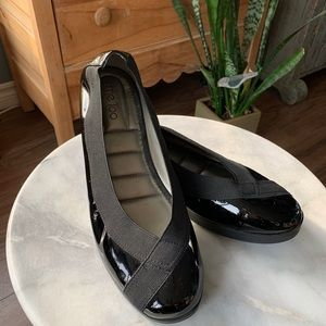 Me Too black patent leather flats